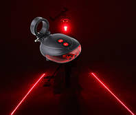 Светодиодная фара-мигалка с двумя лазернами подсветками, велосипедный фонарь с лазером.