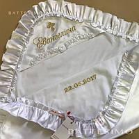 Крыжма с рюшами шелковая утепленная Евангелина, MIMINO BABY