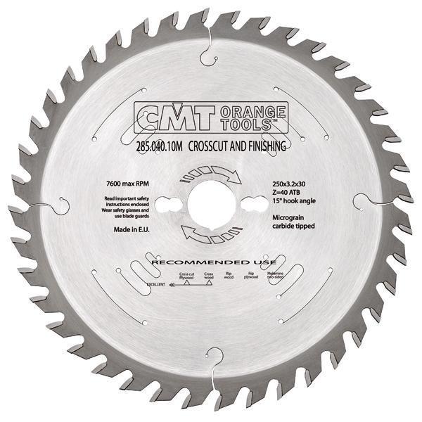 Пильный диск CMT 305x30x3,2x72 торцовочный , поперечный чистый рез