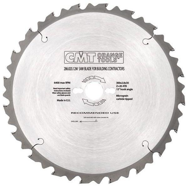 Пильный диск CMT 300x30x3,2x96  хромированный универсальный на циркулярку, формато-раскроечный