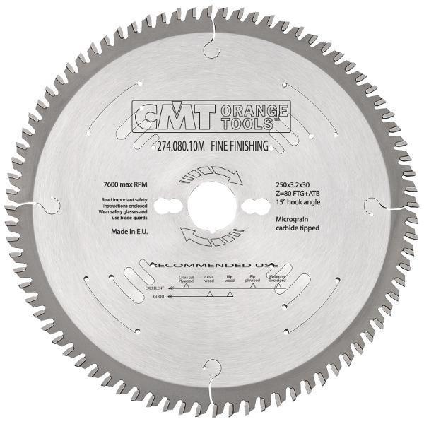 Пильный диск CMT 250x30x3,2x80  торцовочный,формато-раскроечный поперечный рез Xtreme