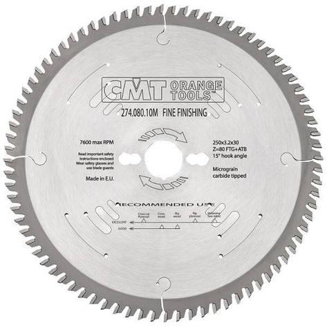 Пильный диск CMT 250x30x3,2x80  торцовочный,формато-раскроечный поперечный рез Xtreme, фото 2
