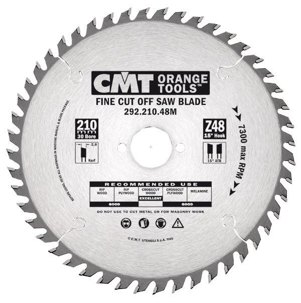 Пильный диск CMT 210x25x2,8x48  поперечный рез для ручных циркулярок