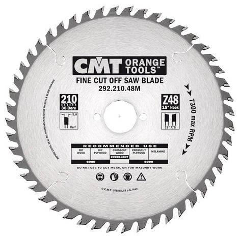 Пильный диск CMT 210x25x2,8x48  поперечный рез для ручных циркулярок, фото 2