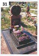 Дитячий пам'ятник серце і подвійний цвітник із граніту на могилу