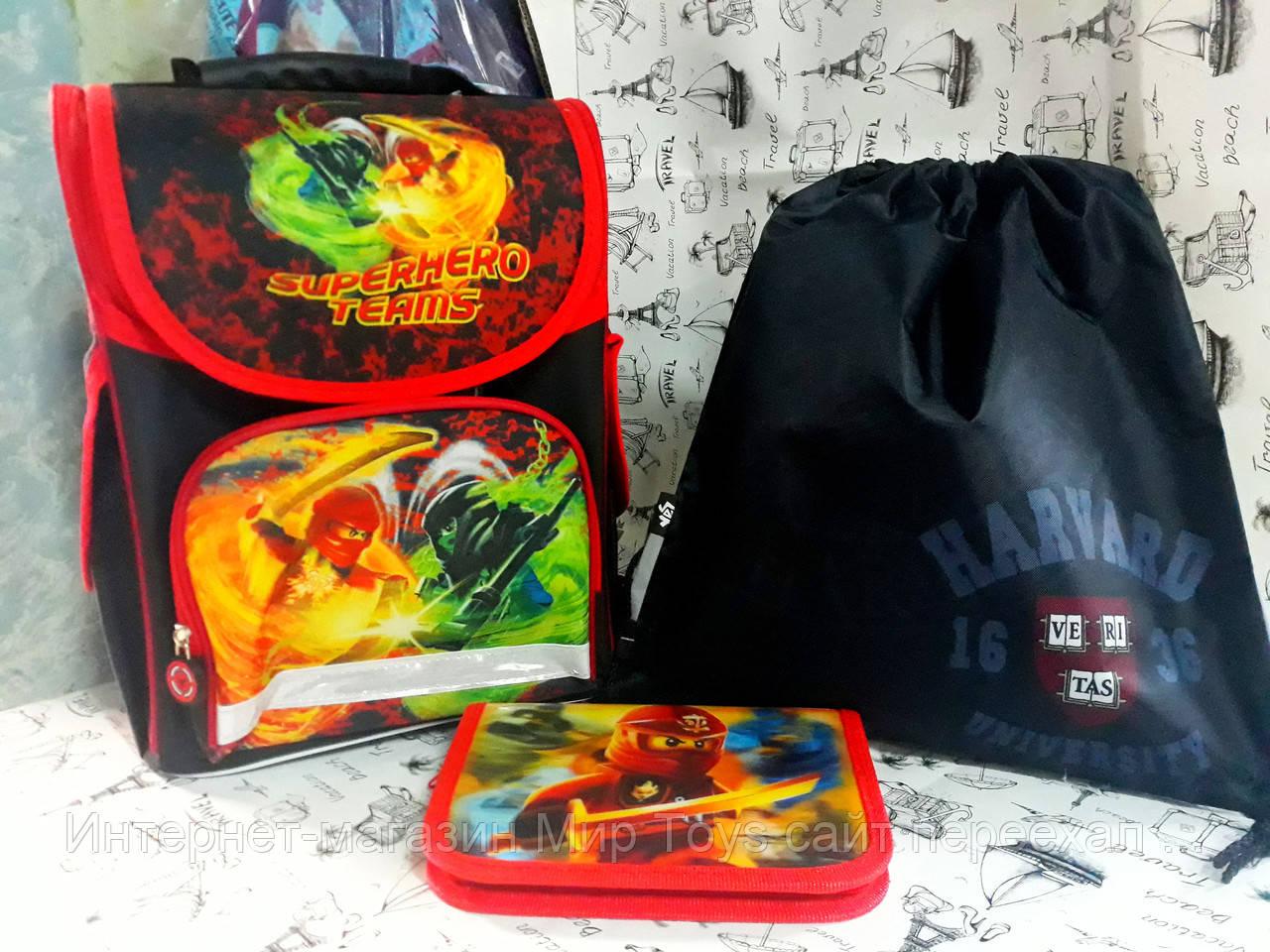 """Набор для мальчика """"Ninja"""" Нинзя 988313  рюкзак , пенал-книжка , сумка для обуви"""