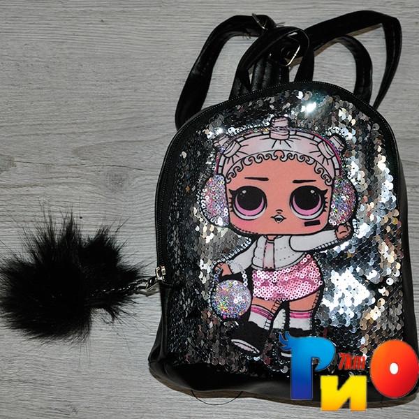 """Рюкзак для девочек с рис """"LOL""""размер 23 /18/10 см (мин.заказ-1 ед) Черный"""