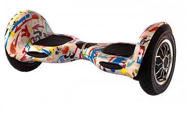 """Гироскутер гироборд Smart Balance Wheel 10"""" i10 с автобалансом и пультом Bluetooth Брызги краски на белом"""