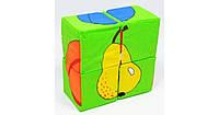Кубики Розумна іграшка фрукты 4 шт детские Украина мягкие 20262