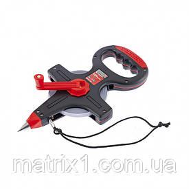 Рулетка геодезична, 50 м х 12,5 мм, металева стрічка, відкритий корпус// MTX