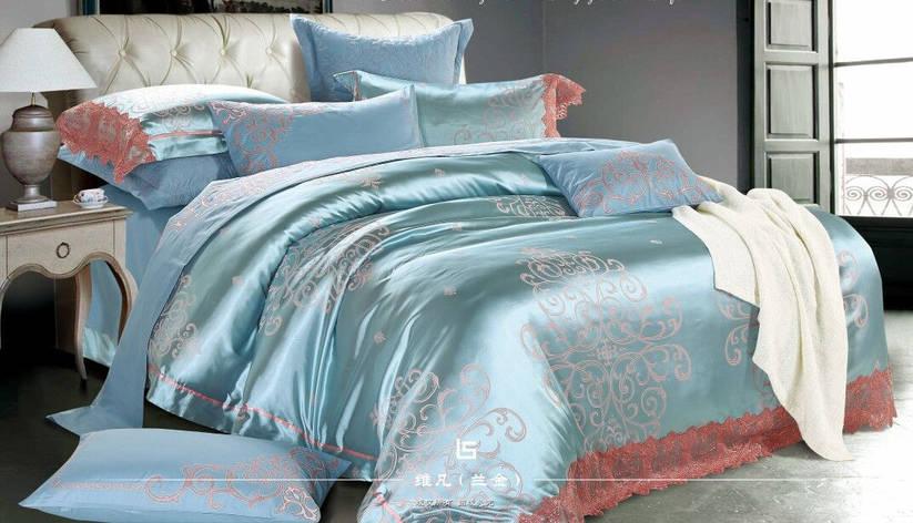 Двуспальный комплект постельного белья евро 200*220 (жаккард сатин), фото 2