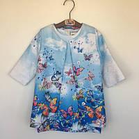 31eff014a780268 Платье для девочки +плащ Бабочки детское CotaDog Корея голубой 1140