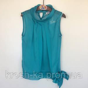 Блуза для девочки без рукав JanJan 128р KifKids Турция бирюзовая 34024