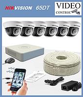 Комплект наружного видео наблюдения 6 камер  HIKVISION 65DT 2Mp.
