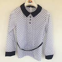 Блуза детская MiniModa Турция белый синяя звездочка шифон для девочки 0619
