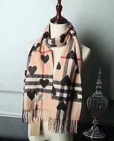 Кашемировый женский шарф Burberry с сердцами