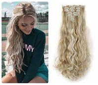 Волосы ТЕРМО на заколках 8 прядей длина 55см №16н613 блонд + свветло-русый