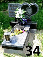 Дитячий пам'ятник у формі серця, подвійна тумба та квітник із граніту