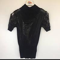 Блуза ажурная короткий рукав женская Nysense Франция чёрная 02852