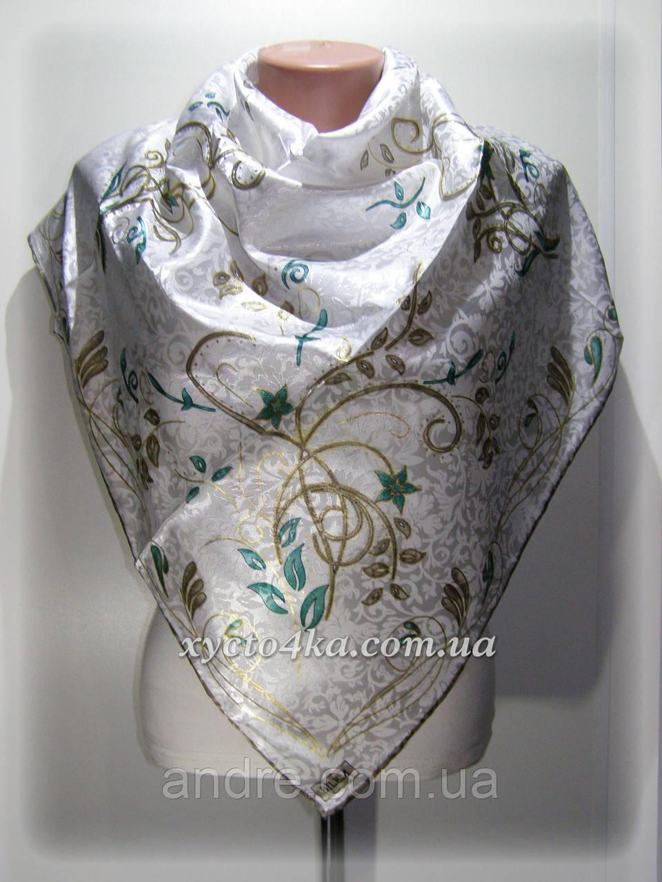 9dc44f7e9b40 Атласный платок Гюльсой, белый с бирюзой - Bigl.ua