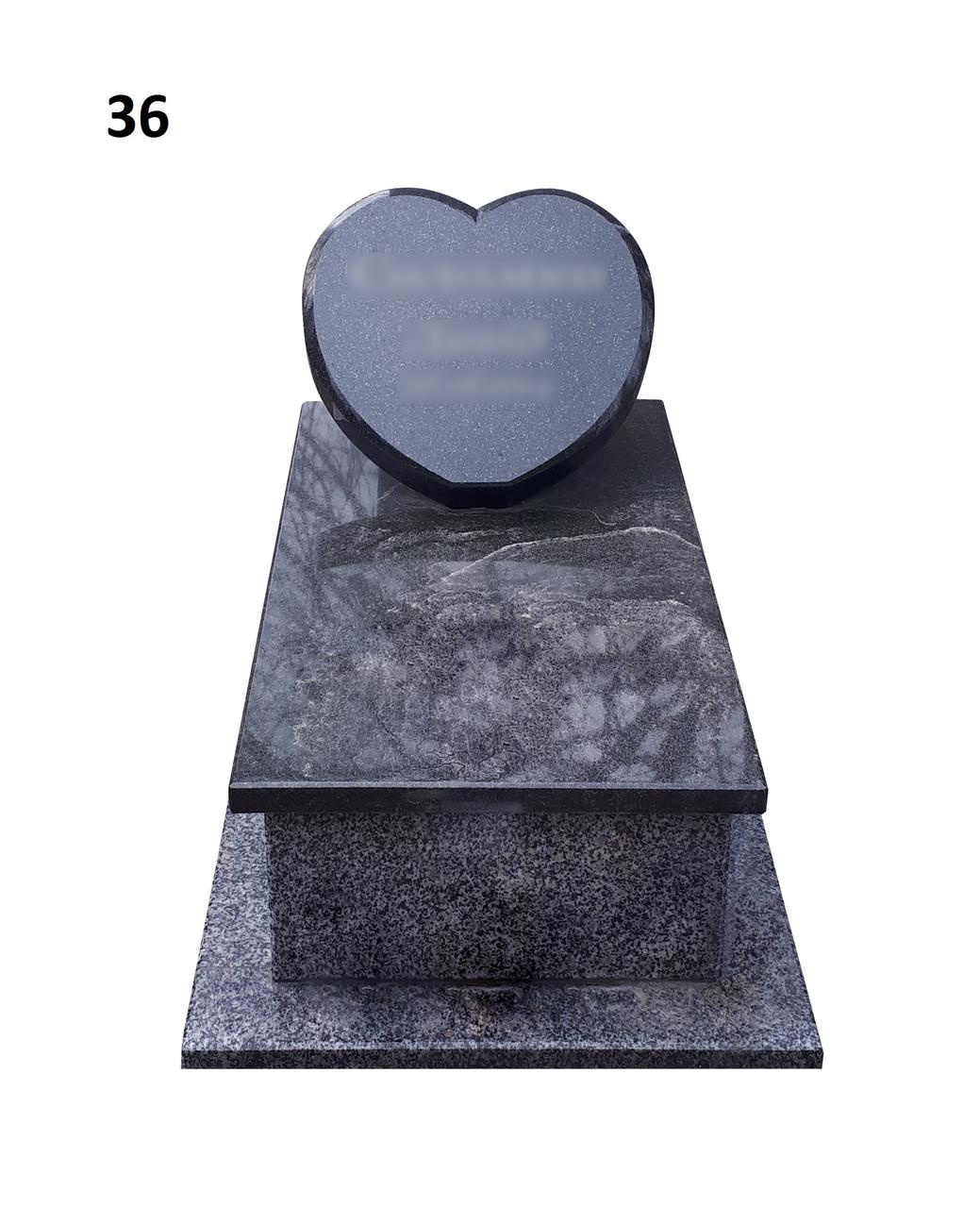 Дитячий пам'ятник серце, закрита гробничка із граніту