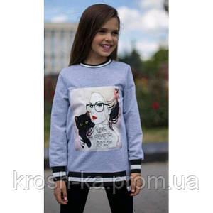 Реглан для девочки Риана (128 размер) (Suzie)Сьюзи Украина серый ПЛ-07703