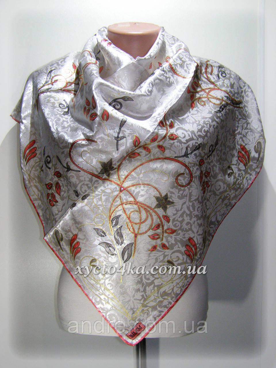 Атласный платок Гюльсой, белый с красным