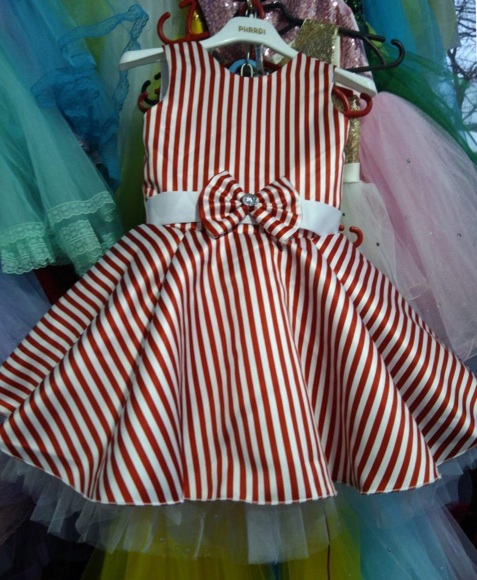 Нарядное платье в полоску Ретро для девочки на 4-6 лет