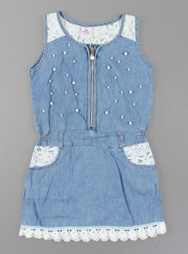 {есть:4 года,8 лет} Платье джинсовое для девочек Seagull,  [4 года]