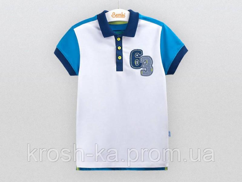 Футболка-поло для мальчика белая (128-140)р (Bembi)Бемби Украина ФБ528