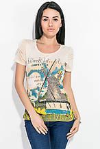 Женская футболка, топ  с рисунком 81P709 (Кремовый)