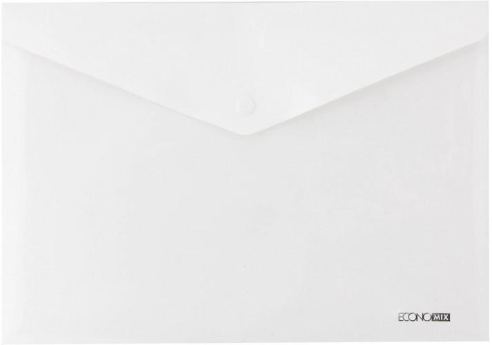 """Папка-конверт А5 прозрачная на кнопке Economix,180 мкм фактура """"глянец"""",белая E31316-14"""