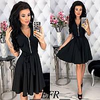 Красивое платье с молнией и рассклешенной юбкой с поясом чёрное S-M L-XL, фото 1