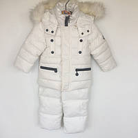 Комплект (куртка+полукомбинезон) на биопухе Moncler Китай белый 1405