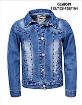Джинсовая куртка для девочек оптом, размеры 122/128-158/164, Glo-Story, арт. GSX-8049