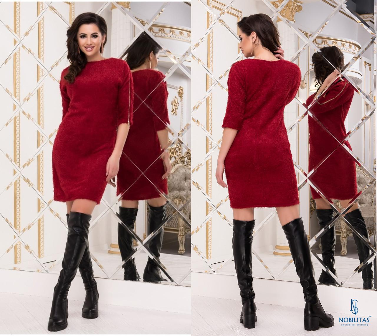 Стильное платье травка NOBILITAS 42 - 48 красное  (арт.18053)