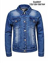 Джинсовая куртка для девочек оптом, размеры 122/128-158/164, Glo-Story, арт. GSX-8047