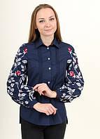 Батистовая блуза с вышитыми рукавами