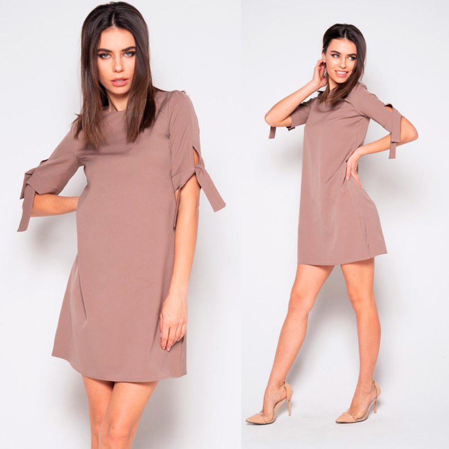 de22aaa6f64 Бежевое однотонное платье с завязками на рукавах - Интернет-магазин женской  одежды от производителя
