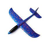 Самолет планер светящийся из пенопласта, 48 см Синий, фото 2