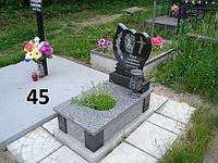 Дитячий пам'ятник на могилу із сірого граніту у вигляді серця з вазою