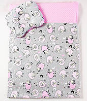 Комплект в коляску BabySoon Розовые барашки одеяло 65 х 75 см подушка 22 х 26 см (597)