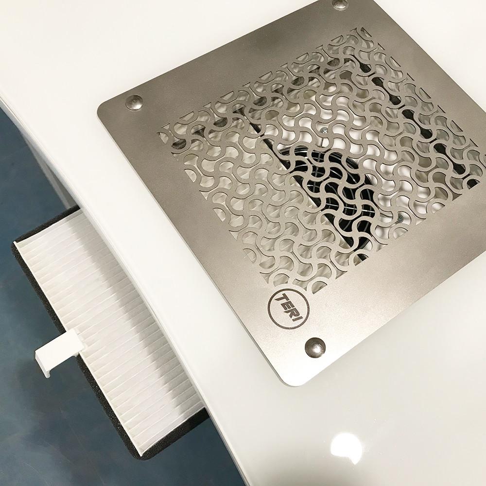 Вытяжка маникюрная врезная Teri Turbo встраиваемая в стол маникюрная вытяжка с HEPA фильтром (н/ж)