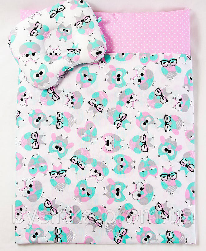 Комплект в коляску BabySoon Розовые совушки в очках одеяло 65 х 75 см подушка 22 х 26 см (598)
