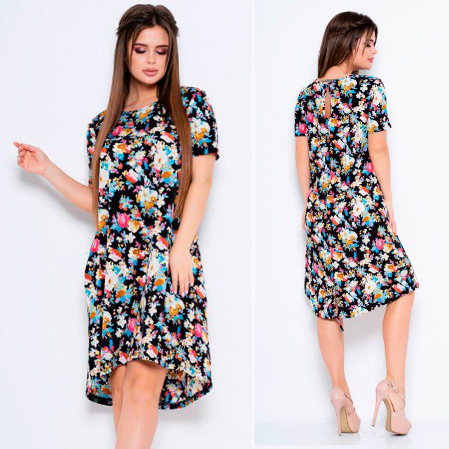Принтованное платье с короткими рукавами и карманами