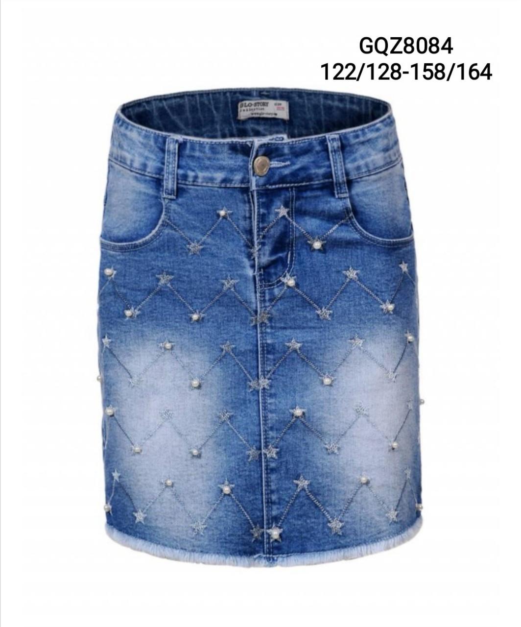 Джинсовая юбка для девочек оптом, размеры 122/128-158/164, Glo-Story, арт. GQZ-8084