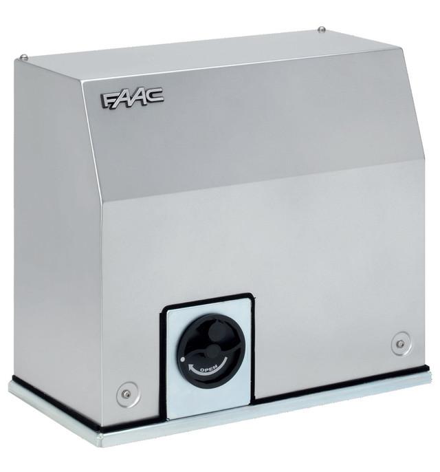 Привод Faac C851 с встроенным блоком управления E850S, шестеренка Z28, с встроенным частотным преобразователем и концевыми магнитными и механическими выключателями, интенсивность - 100%