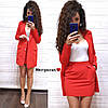 Женский классический Костюм (пиджак+юбка) (красный, розовый, мята, голубой, С и М)