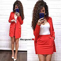 Женский классический Костюм (пиджак+юбка) (красный, розовый, мята, голубой, С и М), фото 1