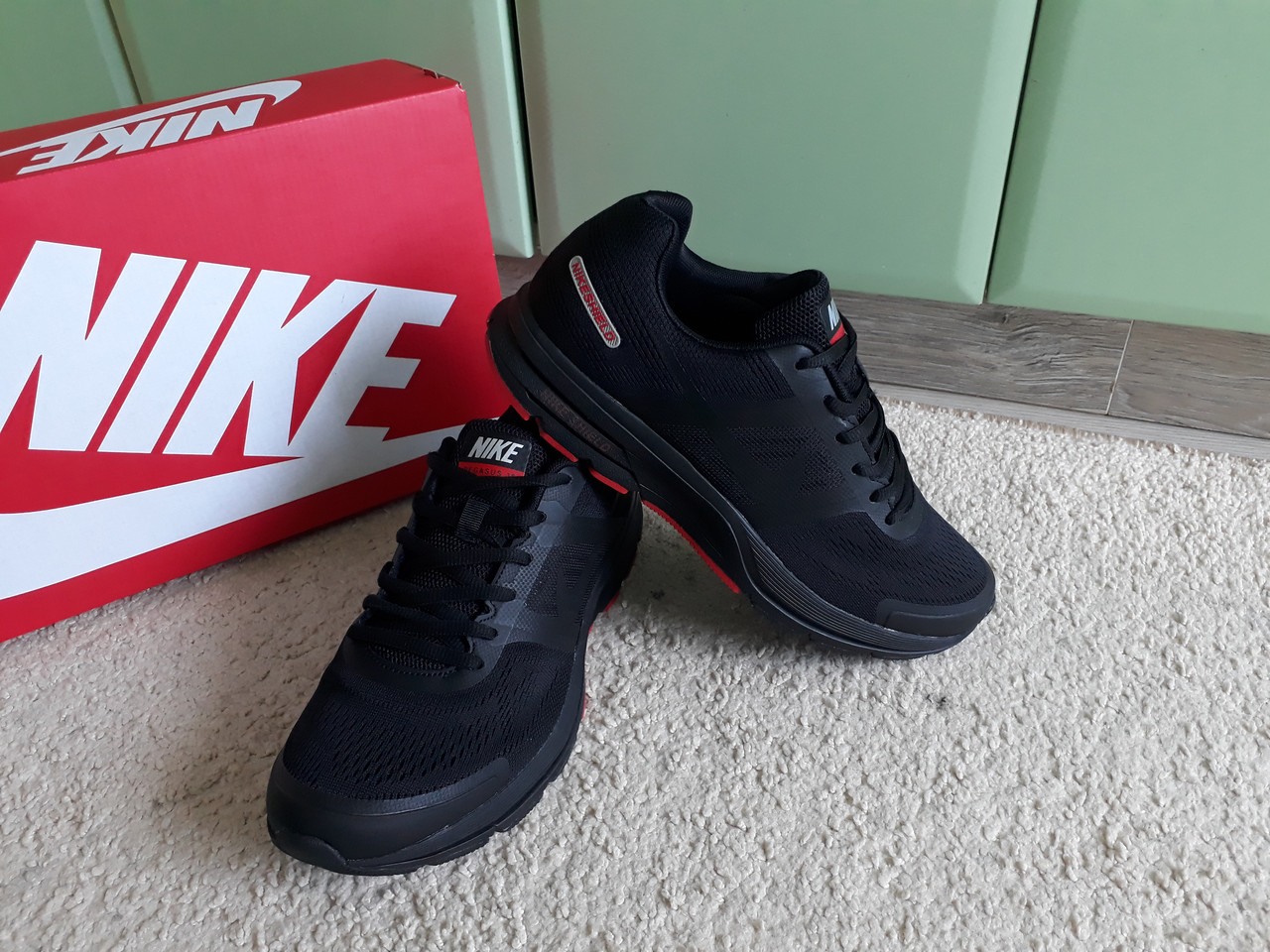 2cc79212 Мужские кроссовки Nike Air Zoom Pegasus Shield Black/Red черные с красным  хит 2019 -
